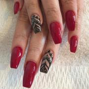 amazing red gel nail art design