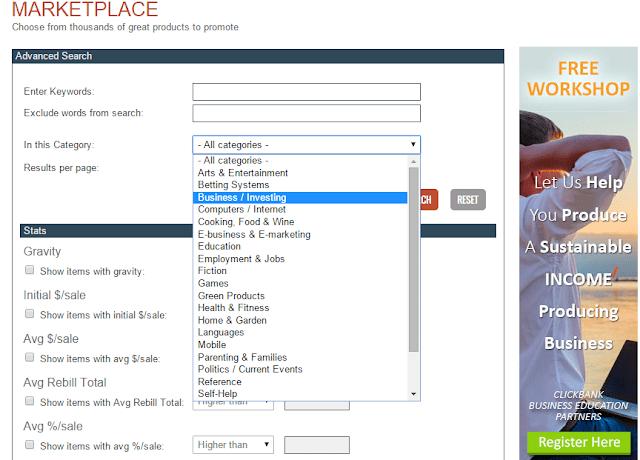 Danh mục sản phẩm tại Clickbank