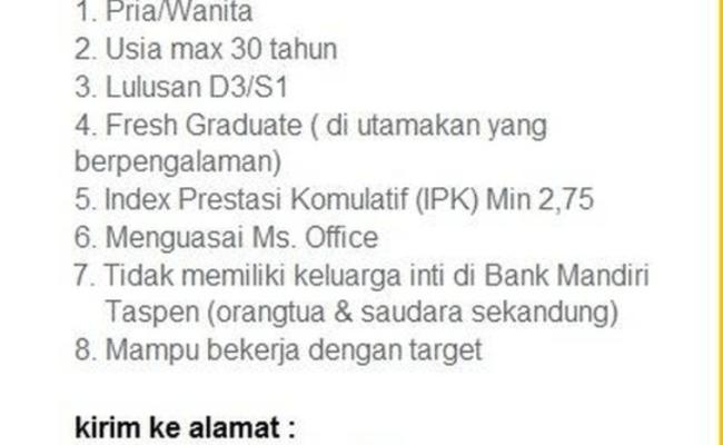 Contoh Surat Lamaran Kerja Bank Mandiri Taspen Pos Berbagi Contoh Surat Cute766
