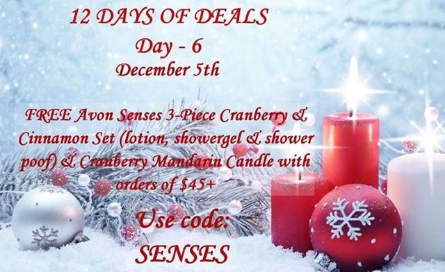 December 5  Free candle and Avon Senses 4-piece bath set with any $45+ order CODE: SENSES at https://maryvjjj1.avonrepresentative.com/