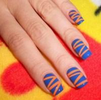Lovely Orange Blue Nail Designs For Summer 2017 - Styles Art