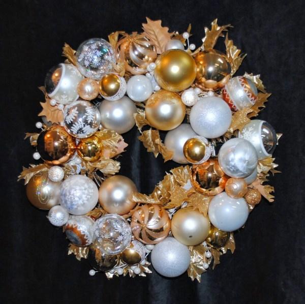 Peace & Joy Christmas Ornament Wreath Centerpiece