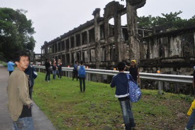 Students took pictures of one of the military barracks.