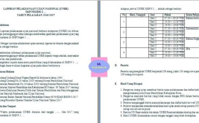 Contoh Laporan Ujian Nasional Smp Seputar Laporan Cute766