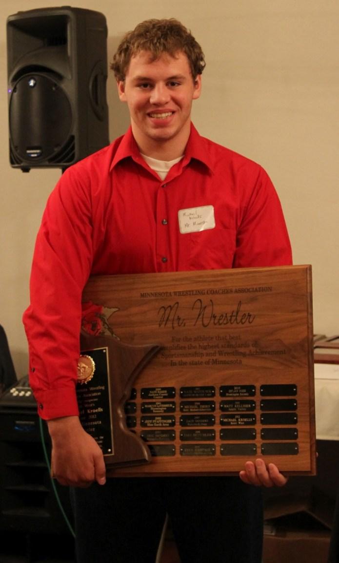 MWCA Mr. Minnesota of Wrestling selection Michael Kroells of Scott West.