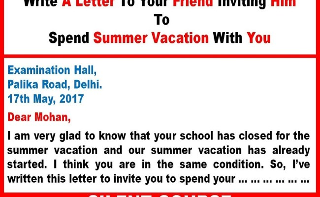 Write A Letter To Your Friend Inviting Him To Spend Summer Cute766