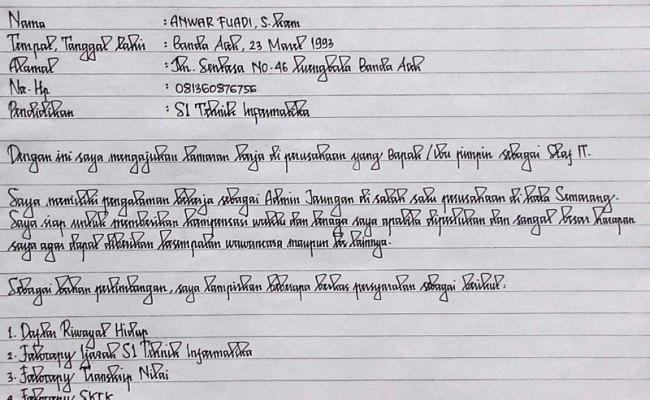 Contoh Surat Lamaran Kerja Pt Tulis Tangan Yang Baik Dan Benar Bagi Contoh Surat Cute766
