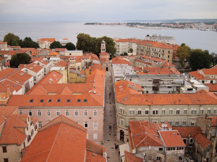 Beautiful bird's eye view of Old Town Zadar