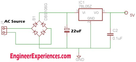 Circuit For 5 Volt Supply through Transformer