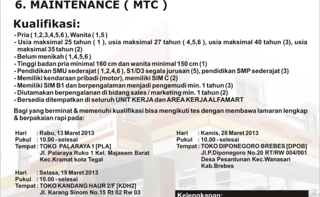 Lowongan Alfamart Di Surabaya Lowongan Kerja Indonesia Cute766
