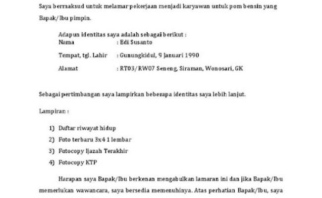 Contoh Surat Lamaran Kerja Ke Pt Pertamina Suratlamaran Cute766