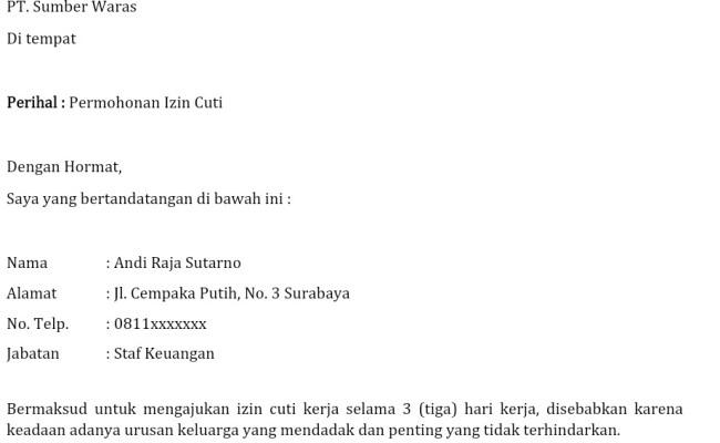 Contoh Surat Izin Tidak Sekolah Karena Pulang Kampung Bagikan Contoh Cute766