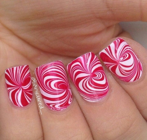 Simple Nail Art Procedure: Easy Water Marble Nail Art Technique , Christmas Nails