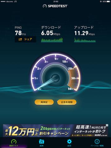 mineoのドコモ回線SIMによる通信速度