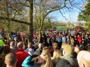 Crowds on both sides of the brook