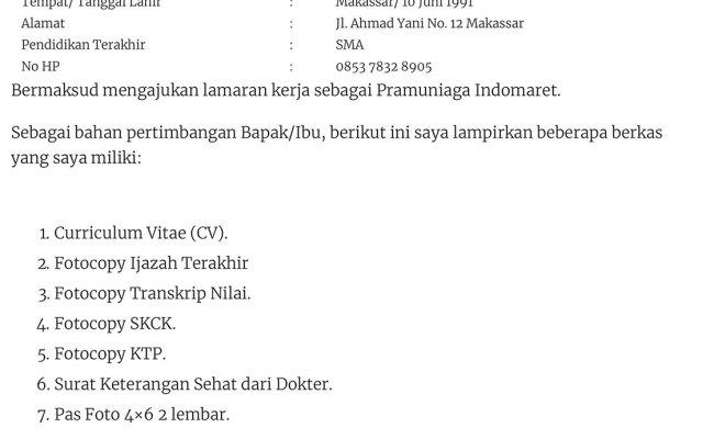Contoh Surat Lamaran Kerja Di Pt Indomarco Prismatama Kumpulan Kerjaan Cute766