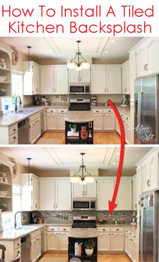 How to tile a kitchen backsplash using pencil tile A great tutorial on how to deal with outlets