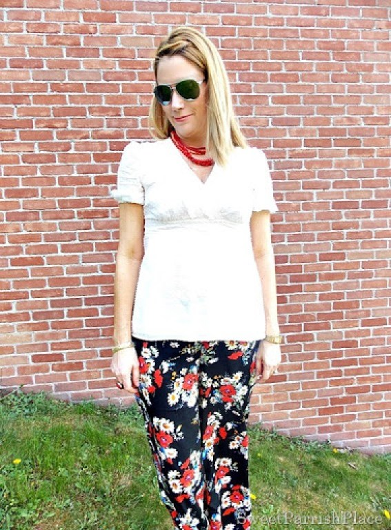 Floral palazzo pants, cream blouse, red salt water sandals5