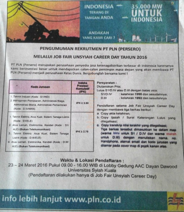 Lowongan Kerja PLN 2016 Aceh, Loker PLN terbaru