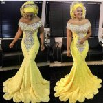 off-the-shoulder mermaid yellow Asoebi 2018