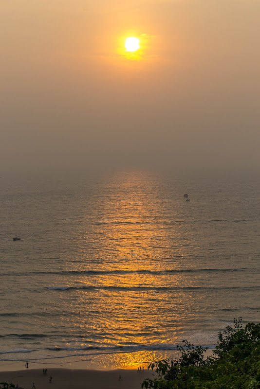 A gorgeous sunset at Vagator beach, Goa chapora fort