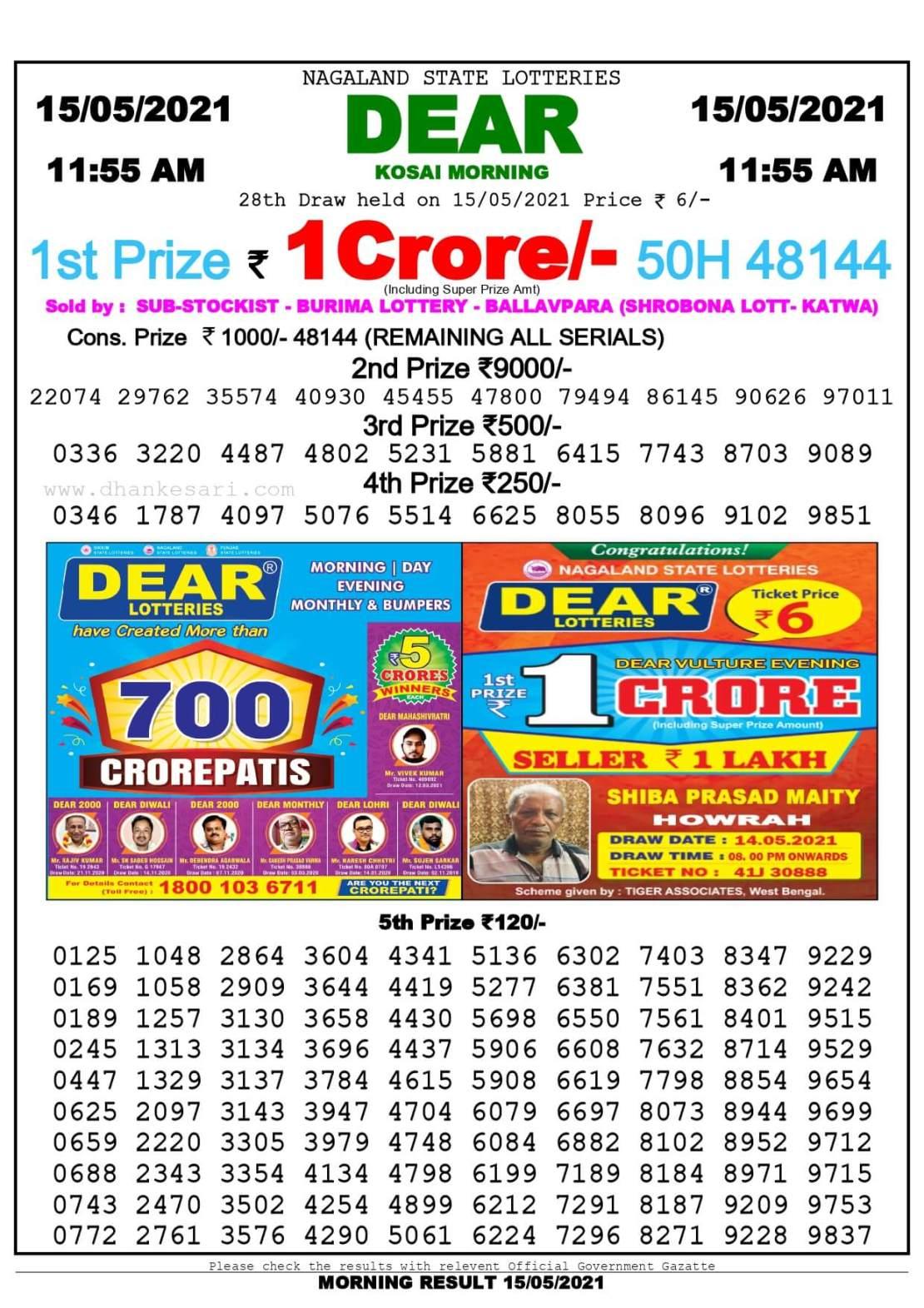 Dhankesari Lottery Sambad Result Today 11:55 AM 15.5.2021