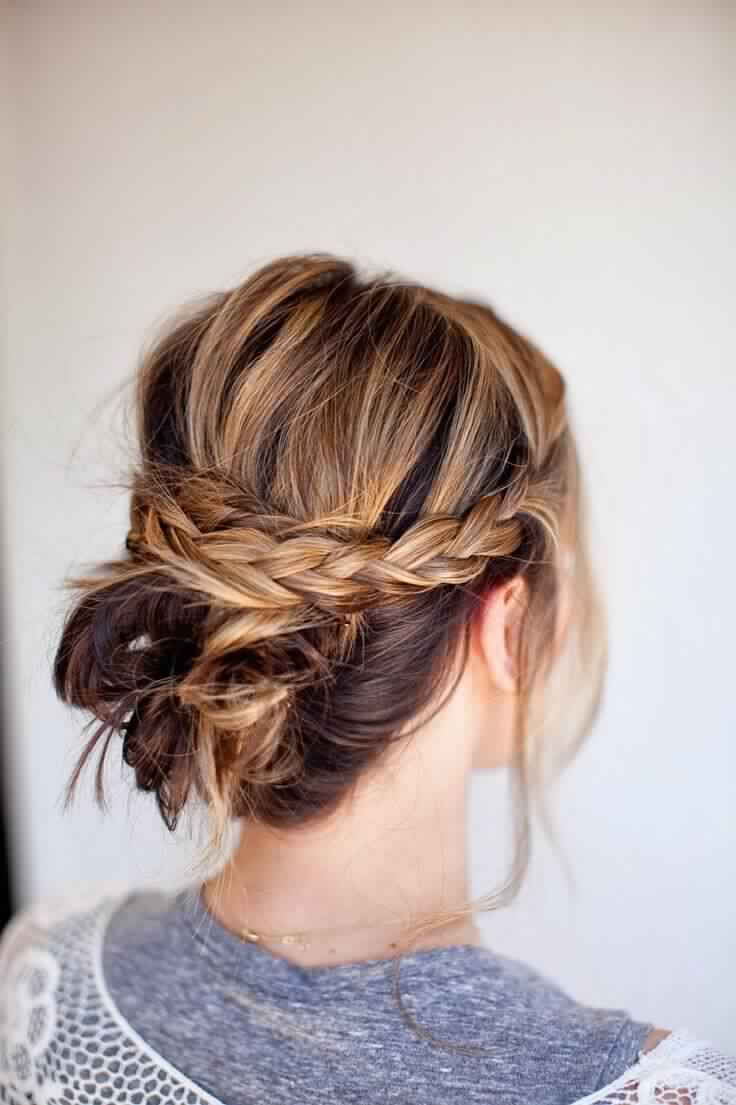Easy Braided Updo Hairstyle for Medium Hair