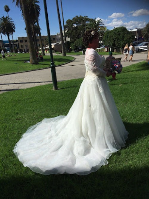 Carly findlay Wedding dress - in St Kilda park