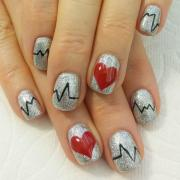 red and silver glitter nail art