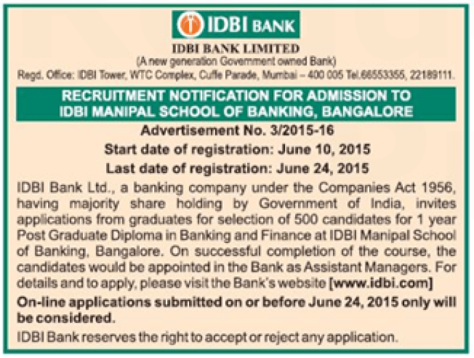 idbi manipal school of banking 2015