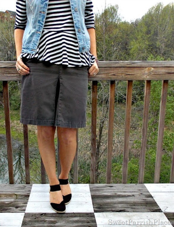 denim vest, brown skirt, striped shirt, brown wedges2