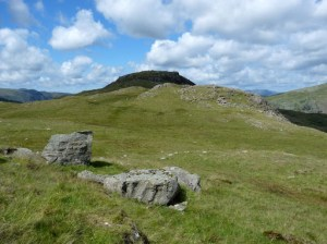 Sergeants Crag in the shade. The route we took from Low White Stones to Sergeants Crag was a wet and boggy one. Not an area to walk in straight lines today.