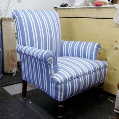 Blue And White Striped Chair Small Stool With Wheels Lefebvre S Upholstery Fan Back Stripe This Matches The Owner Other Same Fabric Seen Here