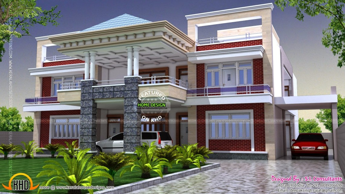 North Indian luxury house - Kerala home design and floor plans