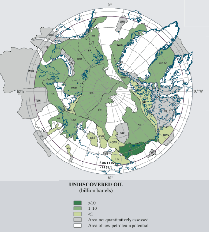 Figure 3. Provinces in the Circum-Arctic Resource Appraisal (CARA) color-coded for mean estimated undiscovered oil in oil fields. Only areas north of the Arctic Circle are included in the estimates. Province labels are the same as in Table 1. Source: USGS