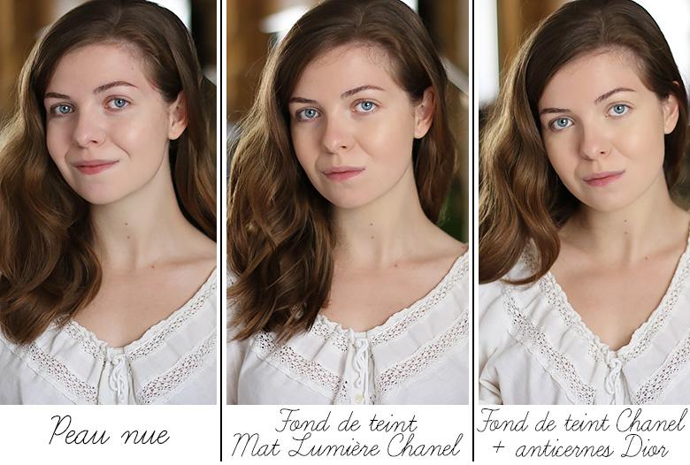 Mes récents favoris beauté : comparatif entre le fond de teint Mat Lumière Chanel et l'anticernes Diorskin Nude Concealer de Dior.