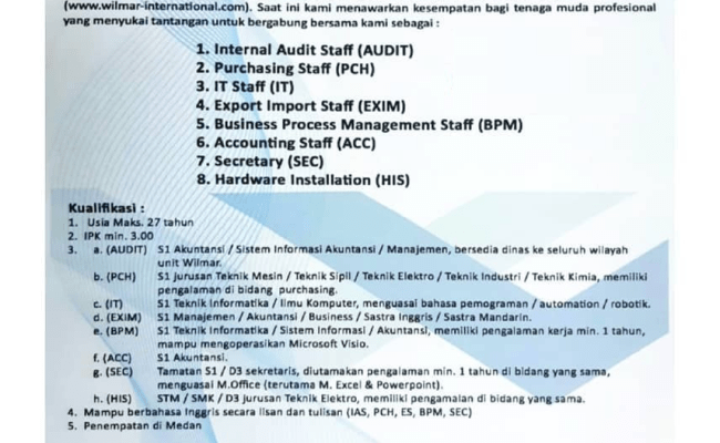 Lowongan Kerja Medan Terbaru Di Wilmar Group Lokermedan Id Pusat Lokernya Medan Cute766