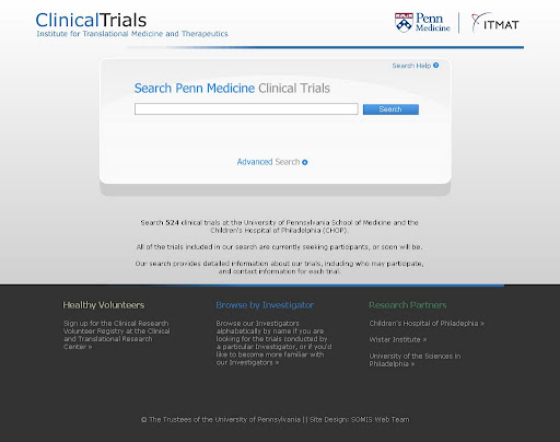 The Clinical Trials search site I developed. My co-worker Joe created the design.