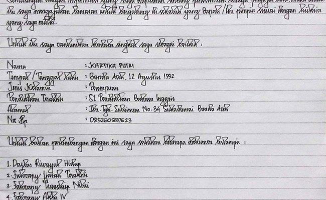 Contoh Surat Lamaran Kerja Tulis Tangan Cpns Cute766