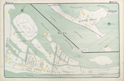 1910 Atlas of the City of Toronto, Island Park, showing plan numbers, lots & buildings c-r-152