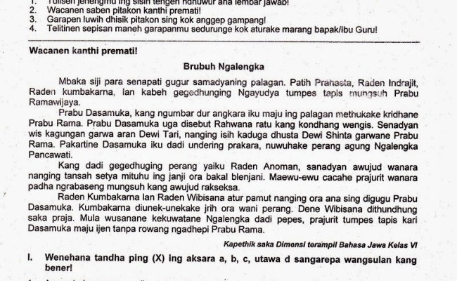 Soal Bahasa Lampung Kelas 6 Dan Kunci Jawaban Bangsoal Cute766