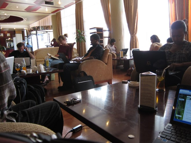 The common lounge (aka 'Computer Room') in Jupiter Hotel on Bole Road