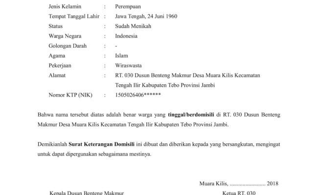Contoh Surat Keterangan Domisili Dari Lurah Atau Kades Doc Word Cute766