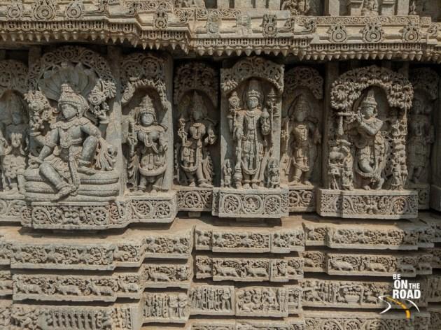 Venugopala, Amaranarayana and other sculptures at Javagal Lakshmi Narasimha Temple