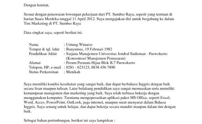 Contoh Surat Lamaran Di Kasir Cute766