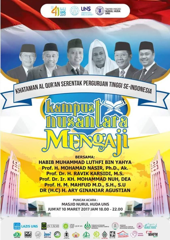 Dies Natalis UNS Surakarta ke-41 bersama Maulana Habib Muhammad Luthfi bin Yahya. Foto: Masjid Nurul Huda UNS Solo.