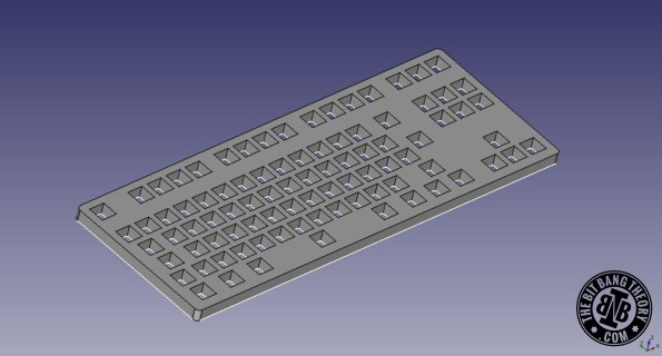 placa superior HacKeyboard FreeCAD