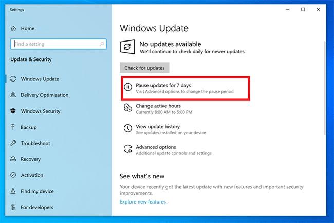 Tạm hoãn cập nhật windows