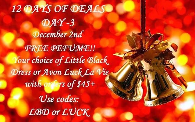 December 2  Free fragrance with any $45+ order — Little Black Dress or Avon Luck La Vie eau de parfum CODE: LBD or LUCK at https://maryvjjj1.avonrepresentative.com/