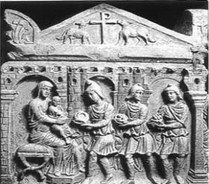 Adorazione dei Magi. Sarcofago del Museo Ambrosiano. Milano . IV° sec. d.C.